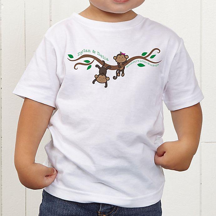 Alternate image 1 for Two Little Monkeys Personalized Toddler T-Shirt