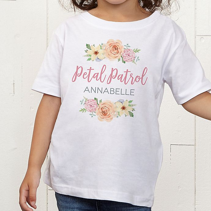 Alternate image 1 for Floral Wreath Flower Girl Personalized Toddler T-Shirt