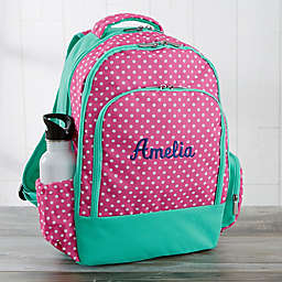 Pink Polka Dot Embroidered Backpack