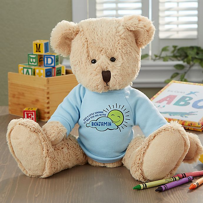 Alternate image 1 for Get Well Personalized Baby Teddy Bear- Blue
