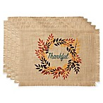 """Bardwil Linens """"Thankful"""" Placemats in Khaki (Set of 4)"""