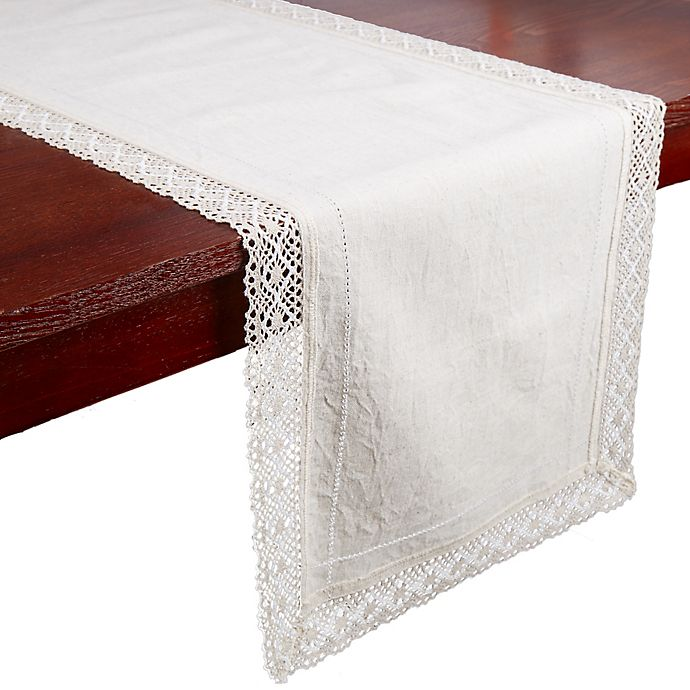 Alternate image 1 for Bee & Willow™ Home Crochet Trim Table Runner in Natural