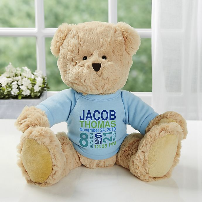 Alternate image 1 for All About Baby Personalized Teddy Bear For Baby Boy- Blue