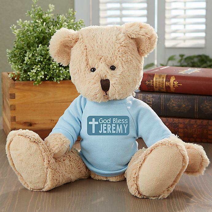 Alternate image 1 for God Bless Personalized Teddy Bear- Blue