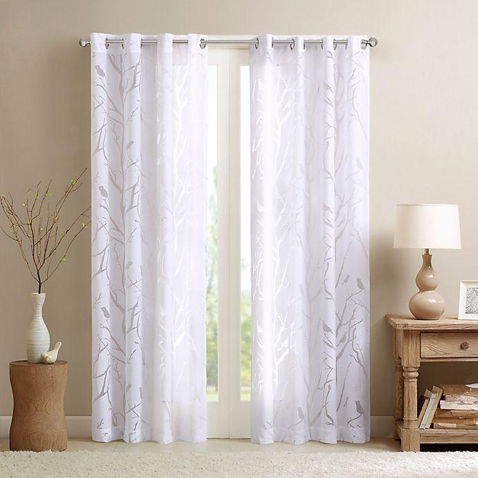 Alternate image 1 for Madison Park Averil Sheer Bird 84-Inch Grommet Top Window Curtain Panel in White