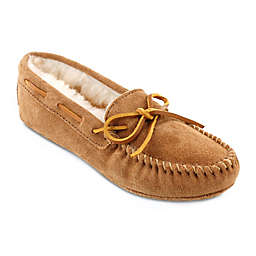 Minnetonka® Sheepskin Women's Softsole Moccasin Slipper in Golden Tan