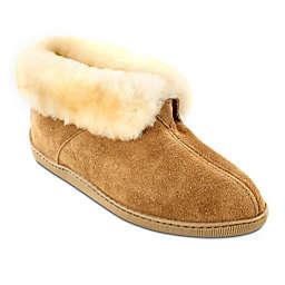 Minnetonka® Sheepskin Ankle Boot Slipper in Golden Tan