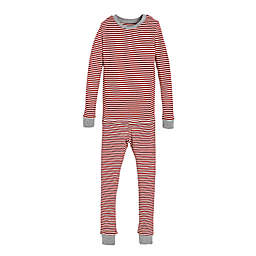 Burt's Bees Baby® Child's 2-Piece Candy Cane Stripe Holiday Pajama Set in Red