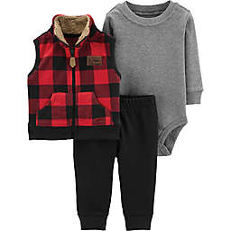 carter's® 3-Piece Buffalo Plaid Little Vest Set