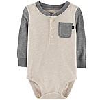 OshKosh B'Gosh® Size 6-9M Henley Bodysuit in Ivory/Grey