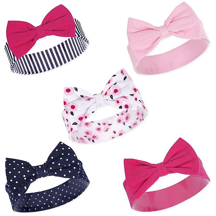 Alternate image 1 for Hudson Baby® Little Treasure Size 0-24M 5-Pack Headbands in Polished Blue
