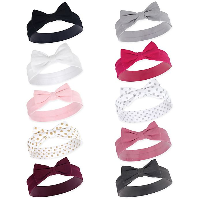 Alternate image 1 for Hudson Baby® Little Treasure Classic Bow Size 0-24M 10-Pack Headbands