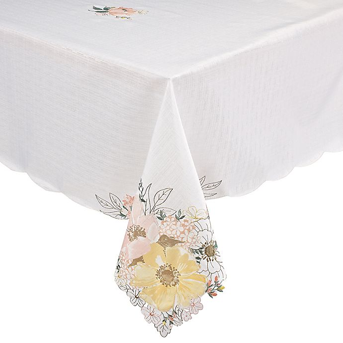Helena Fl Tablecloth In Off White