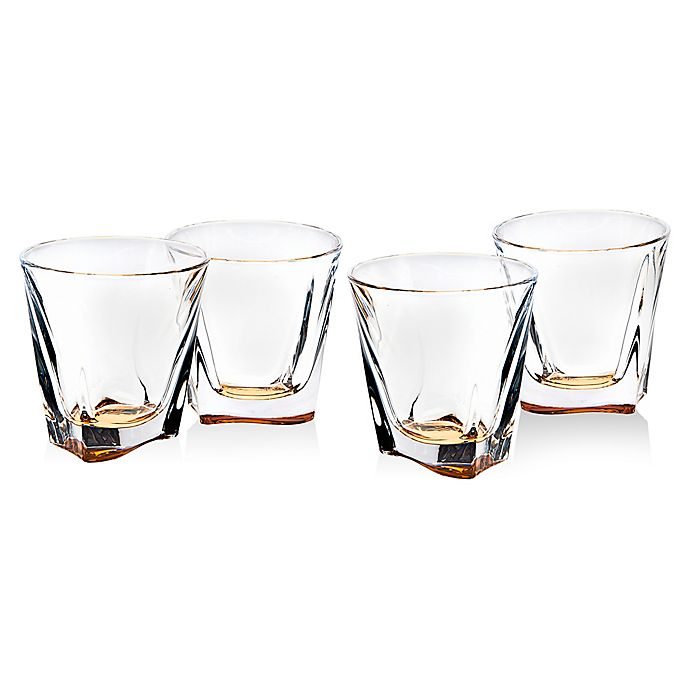 Alternate image 1 for Brookdale Amber Double Old Fashioned Glasses in Clear (Set of 4)