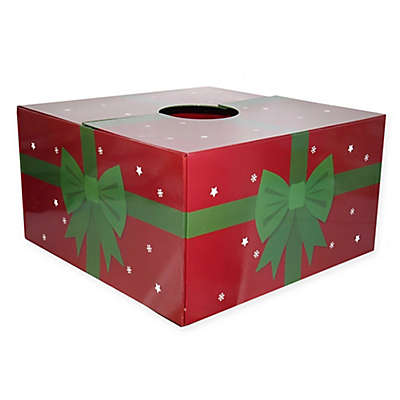 Christmas Tree Box 16-Inch Present Tree Stand Cover in Red