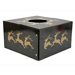 Christmas Tree Box 20-Inch Reindeer Tree Stand Cover in Black/Gold