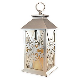 Snowflake Lantern with LED Candle in Silver