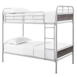 Forest Gate Twin Metal Bunk Bed in White/Grey Wash