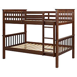 Forest Gate™ Mission Solid Wood Twin Over Twin Bunk Bed in Walnut
