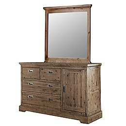 Hillsdale Furniture Oxford 4-Drawer Dresser with Door & Mirror in Cocoa