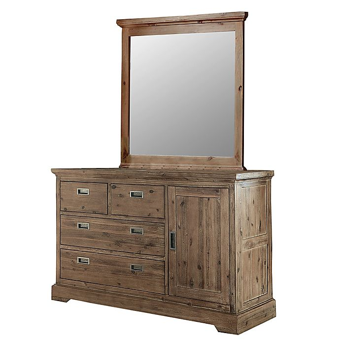 Alternate image 1 for Hillsdale Furniture Oxford 4-Drawer Dresser with Door & Mirror in Cocoa