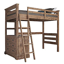Hillsdale Furniture Oxford Oliver Twin Loft Bed with 4-Drawer Chest in Cocoa