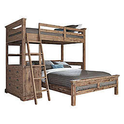 Hillsdale Furniture Oxford Oliver Twin Loft Bed w/ 4-Drawer Chest and Full Lower Bed in Cocoa