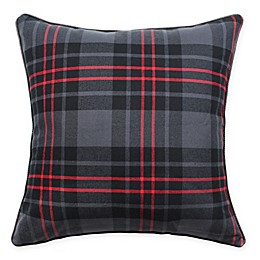 HUI Resource Plaid Square Throw Pillow in Black/Dark Grey