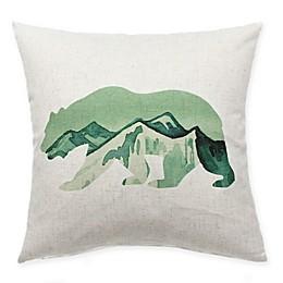 HUI Resource Rocky Mountain Bear Square Throw Pillow in Green