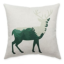 HUI Resource Rocky Mountain Moose Square Throw Pillow in Green