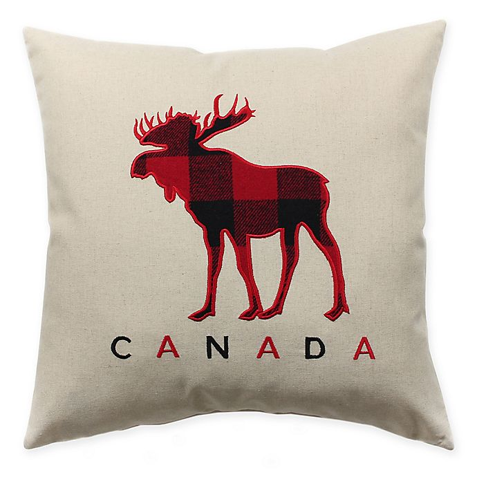 Alternate image 1 for HUI Resource Canada Moose Square Throw Pillow in Red/Black Plaid