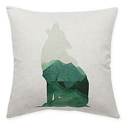 HUI Resource Rocky Mountain Wolf Square Throw Pillow