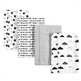 Hudson Baby® Moon & Back 4-Pack Flannel Burp Cloths