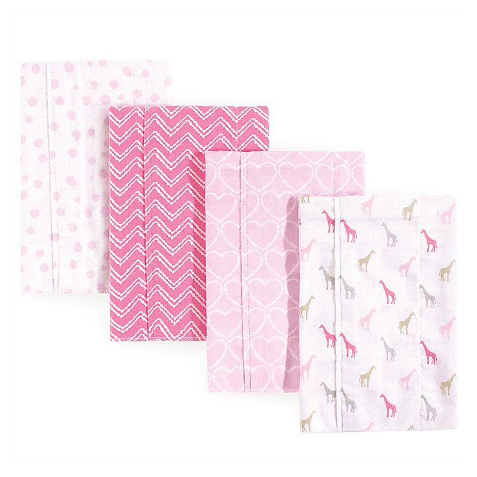 Alternate image 1 for Luvable Friends® 4-Pack Giraffe Burp Cloth Set in Pink