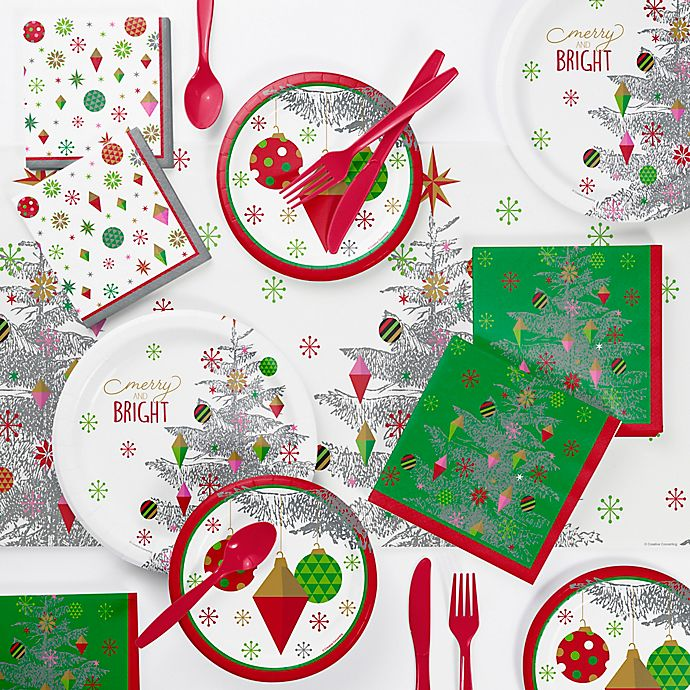 Alternate image 1 for Creative Converting Bright Christmas 73-Piece Tree Party Supplies Kit