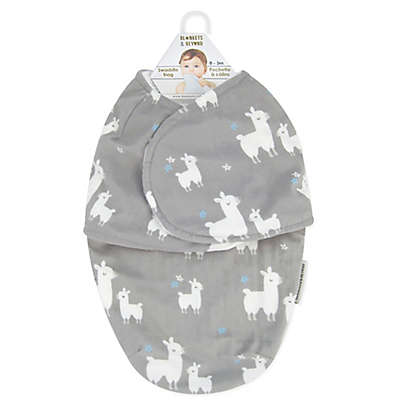 Blankets & Beyond Llama Love Swaddle in Grey