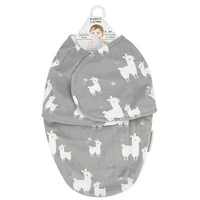 Blankets & Beyond Llama Love Swaddle in Grey