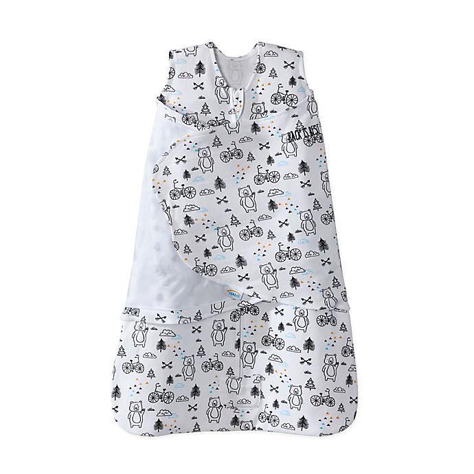 Alternate image 1 for HALO® SleepSack® Huggy Bears 2-in-1 Cotton Swaddle in White/Black