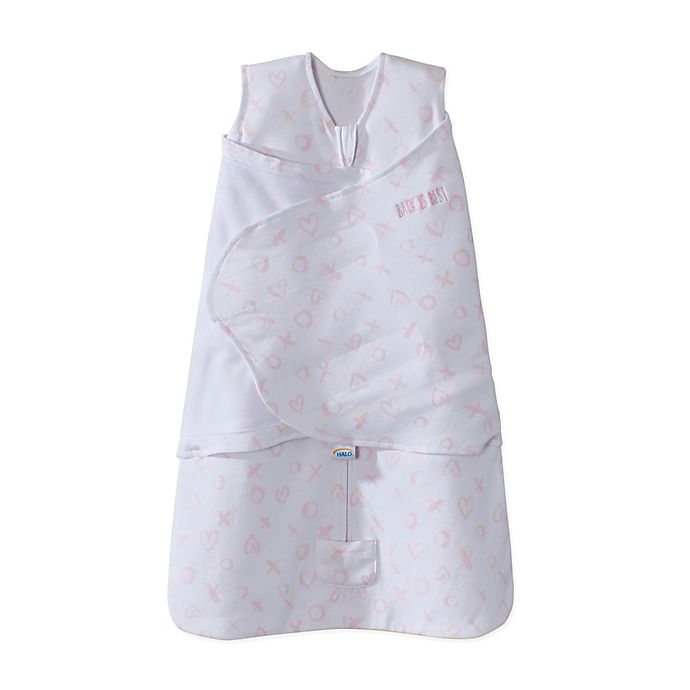 Alternate image 1 for HALO® SleepSack® X's and O's Adjustable Swaddle in Pink