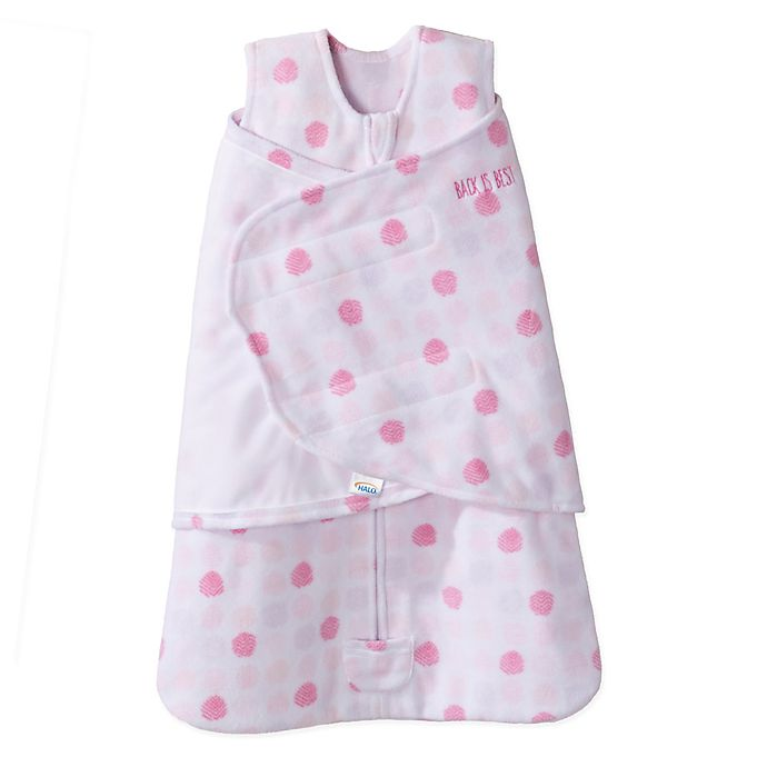 Alternate image 1 for HALO® SleepSack® Size 0-3M Adjustable Dot Swaddle in Pink