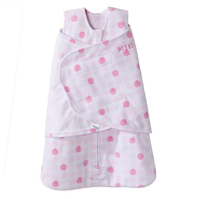 Alternate image 1 for HALO® SleepSack® Size 0-3M Adjustable Dot Swaddle in Pink
