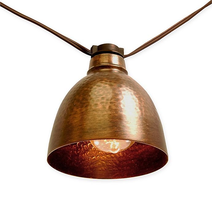 Alternate image 1 for Bronze Metal Café Electric String Lights with Edison Style Bulbs (10 Lights)