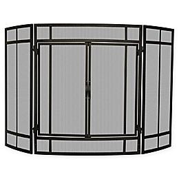 UniFlame® 3-Panel Block Folding Screen Sparkguard in Black