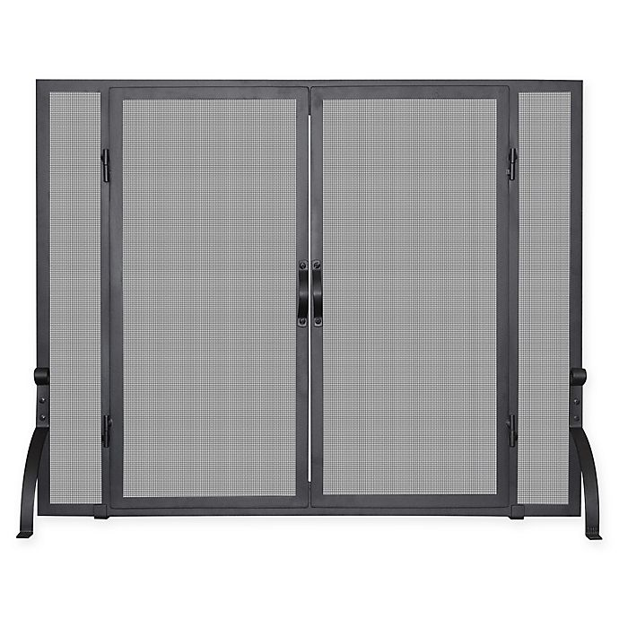 Alternate image 1 for UniFlame® Single-Panel Screen Sparkguard with Door in Black