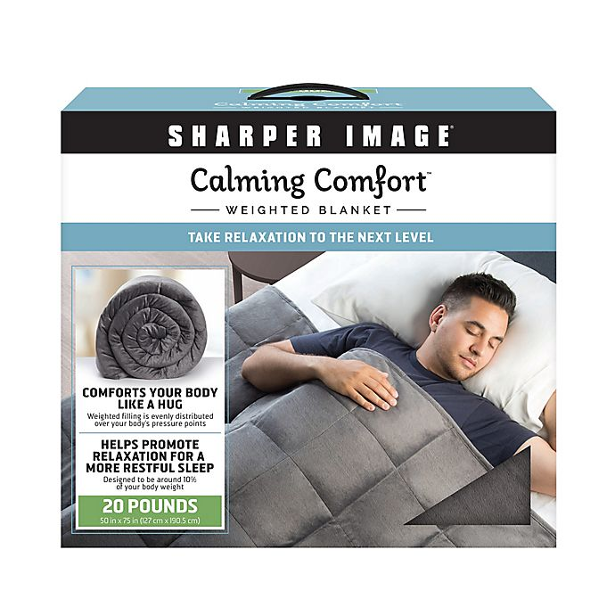 Sharper Image Calming Comfort 20 Lb Weighted Blanket In Grey Bed