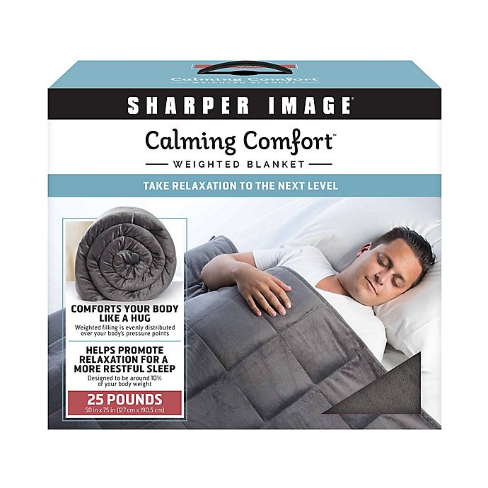 Sharper Image Calming Comfort 25 Lb Weighted Blanket In Grey Bed