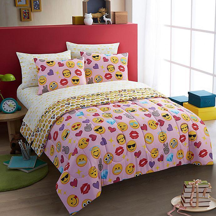 Alternate image 1 for Emoji Pals Bling 7-Piece Full Comforter Set in Pink