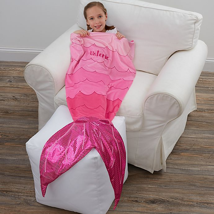 Alternate image 1 for Mermaid Tail Personalized Blanket