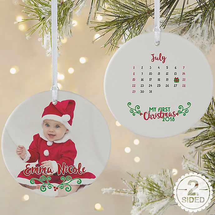 Alternate image 1 for 2-Sided Matte Personalized Baby's 1st Christmas Calendar Ornament- Large