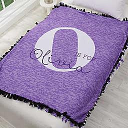 Alphabet Fun For Her Personalized Fleece Tie Blanket